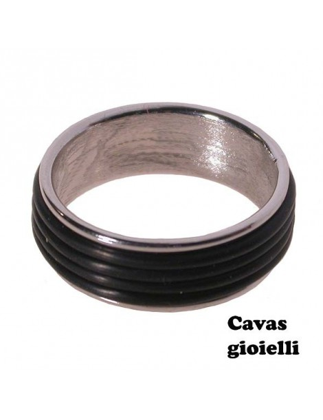 silver band ring with inserted black rubber wires
