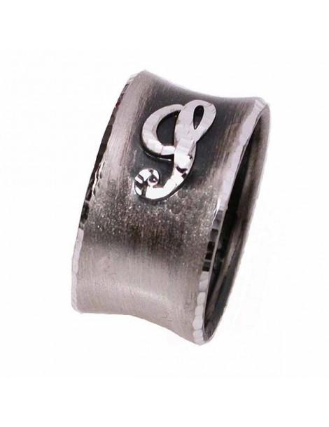 Anello argento con lettera maiuscola in corsivo