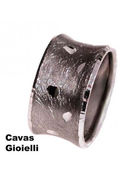 Anello unisex in argento modello fascia larga
