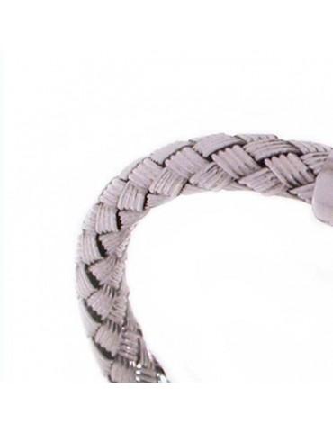 Bracciale semi rigido con lamine intrecciate in argento