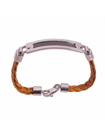 Man bracelet leather silver and  carbon