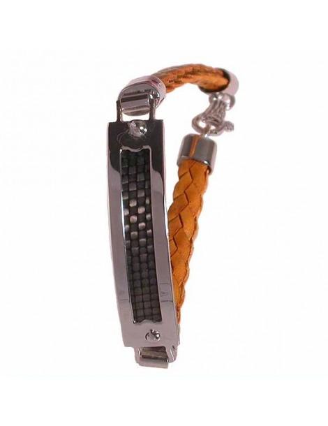 bracciale argento moda uomo con cinturino in pelle