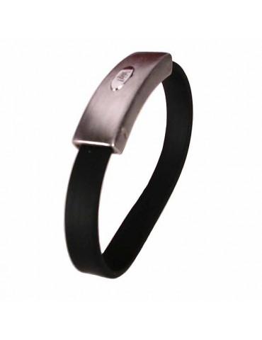 Gummi-Armband mit einem zentralen Silber Jahrgang