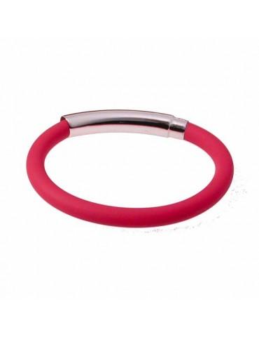 Braccialetto con  centrale in argento e cinturino in caucciù