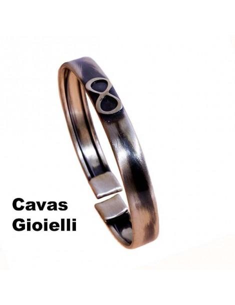 Schiavetta aoerta in argento invecchiato con simbolo infinito