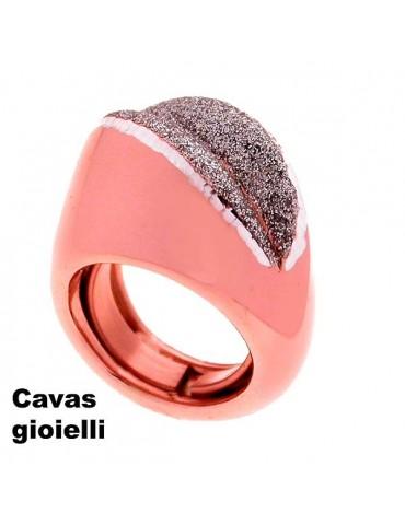Anello rosè in argento e smalto brillante grigio