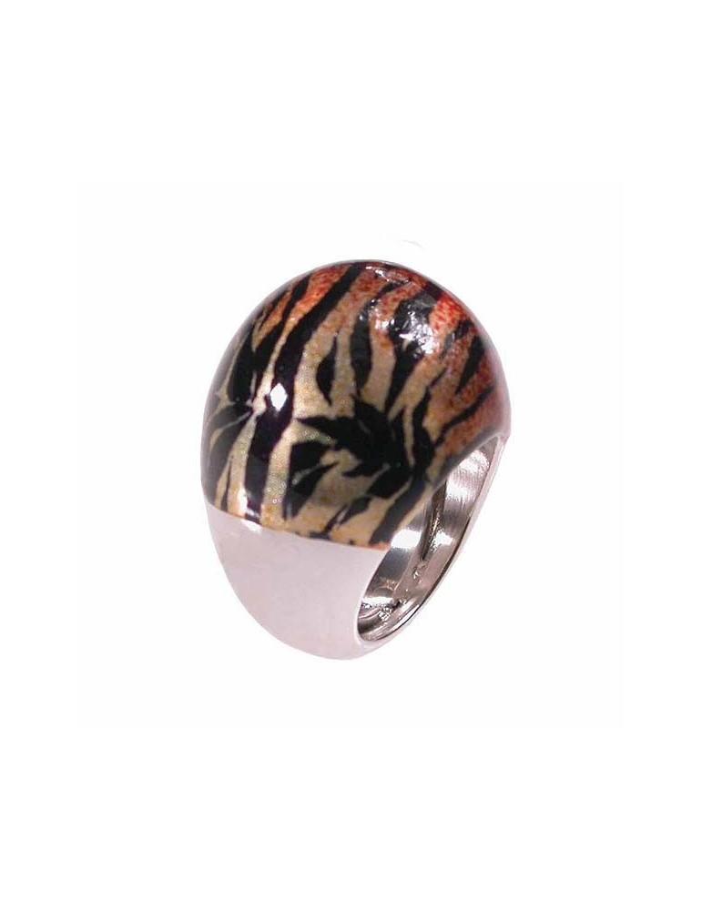 Anello argento con smalto tigrato