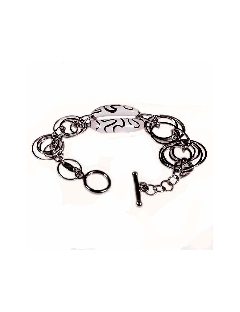 Bracelet female silver and decorated pottery