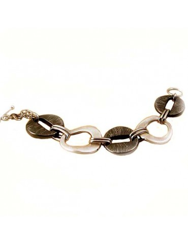 Exclusive silver bracelet with black elements ruthenium