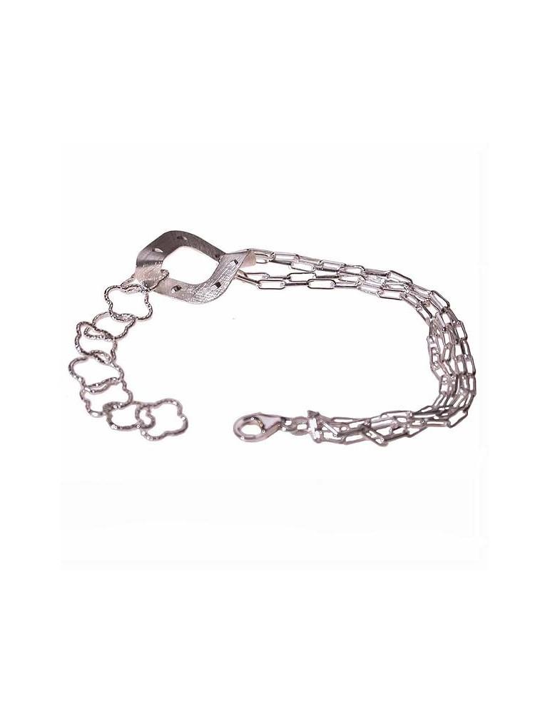 bracciale argento con centrale satinato e diamantato