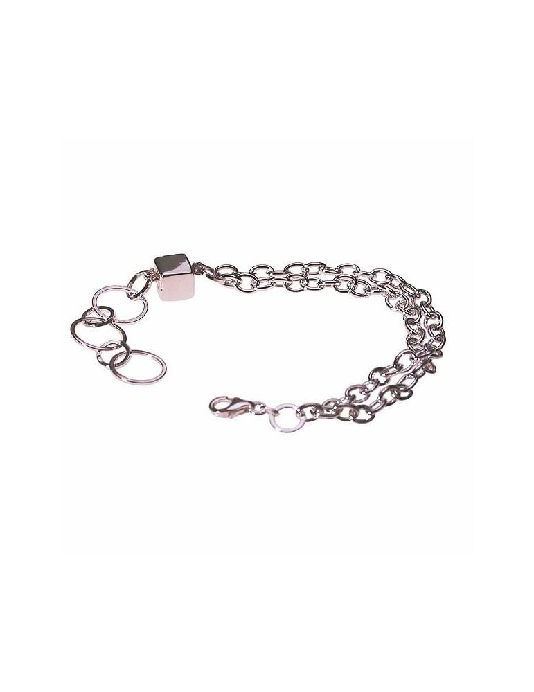 braccialetto fantasia in argento con cubo centrale