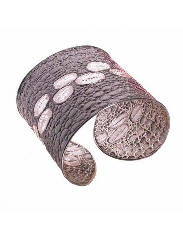 Bracciale argento stampato coccodrillo