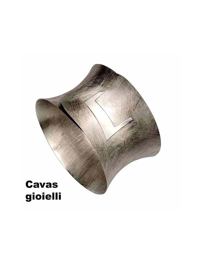 Bracciale argento satinato modello a schiava
