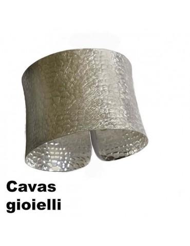 Bracciale d'argento semi rigido modello alla schiava  aperto