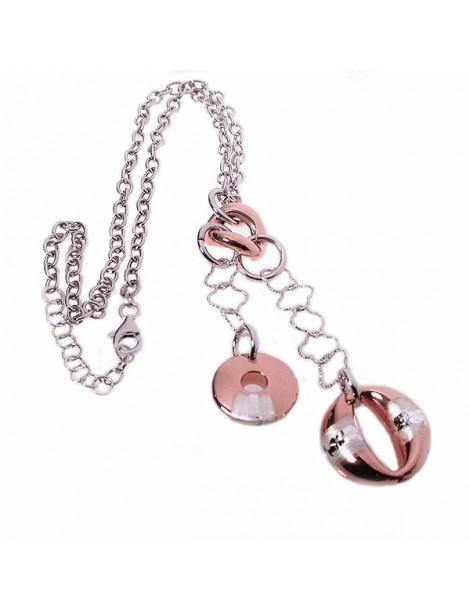 Collana in argento con pendenti rosati