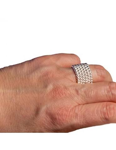Fascia larga ad anello tutto palline in argento