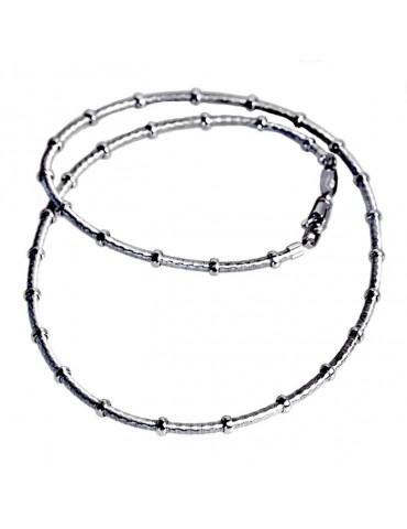 collana a cavetto in argento  con anellini di contenimento