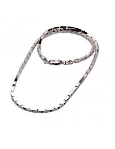 Girocollo argento uomo con maglia sezione qudra