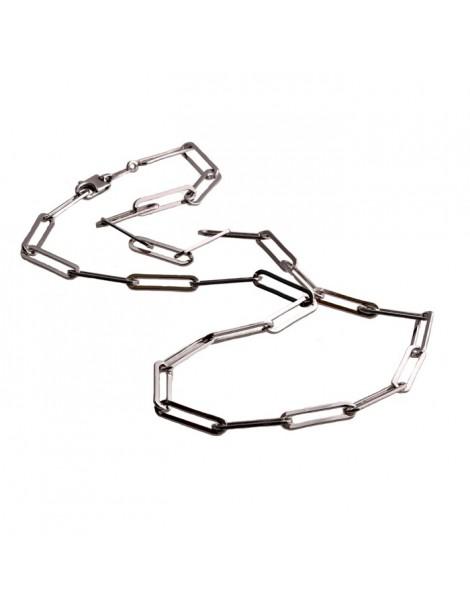 Collana a maglie rettangolari  lunghe d'argento 925