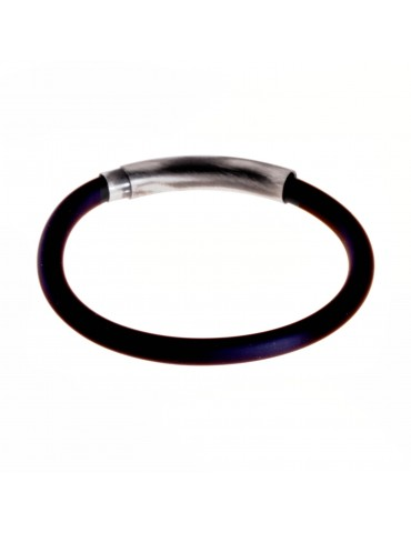 Bracelet en caoutchouc noir et vintage en argent