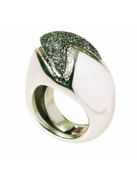 Anello grande forma geometrica con smalto glitter