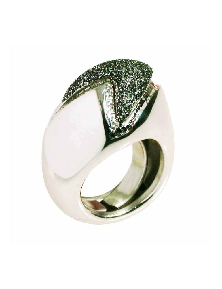 Anello in argento rodiato con smalto  glitter nero