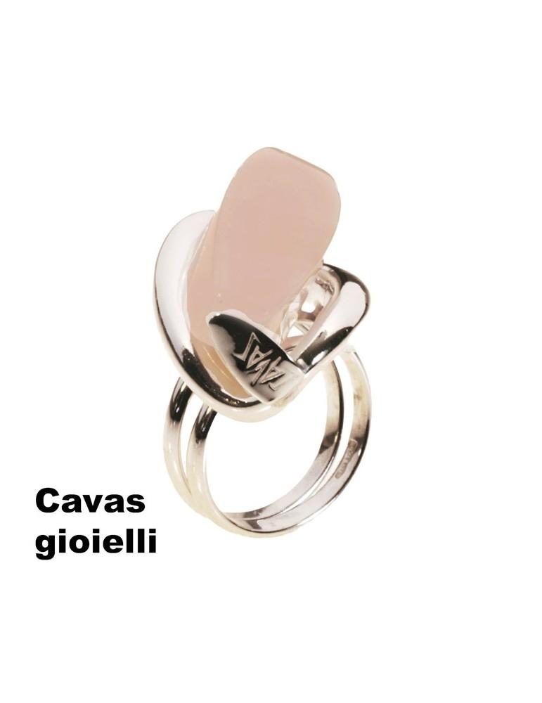 Anello  argento con pietra dura in quarzo rosa  a forma cilindrica
