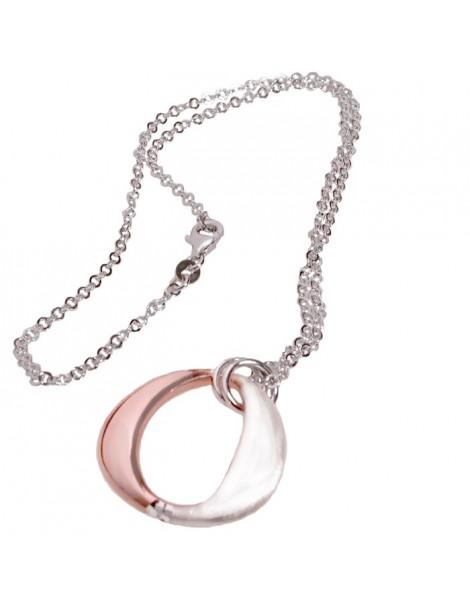 collana con pentente argento rosa
