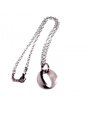 Pendente rodio bicolore e collana in argento 925/1000