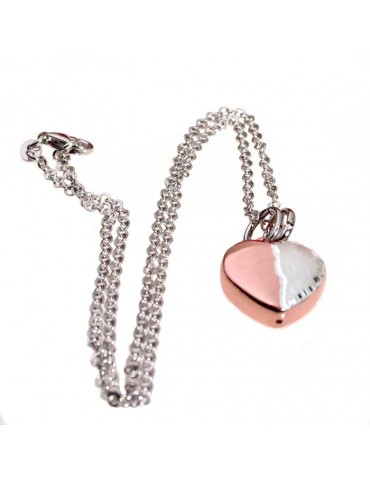 Necklace with heart pendant in silver and rose gold diamond