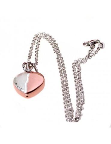 Collier avec pendentif en argent et rose diamant or