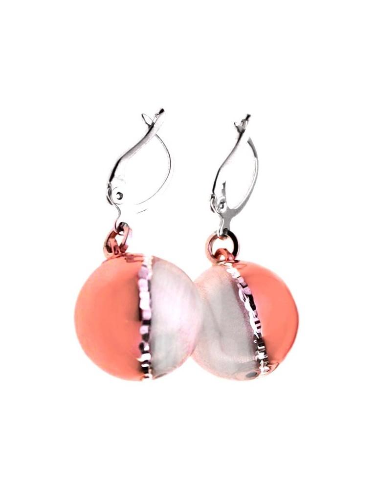 Orecchini a sfera in argento rosa e bianco