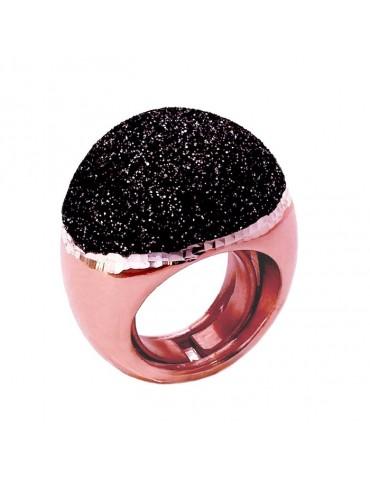 Grande anello in argento rosè con smalto glitter