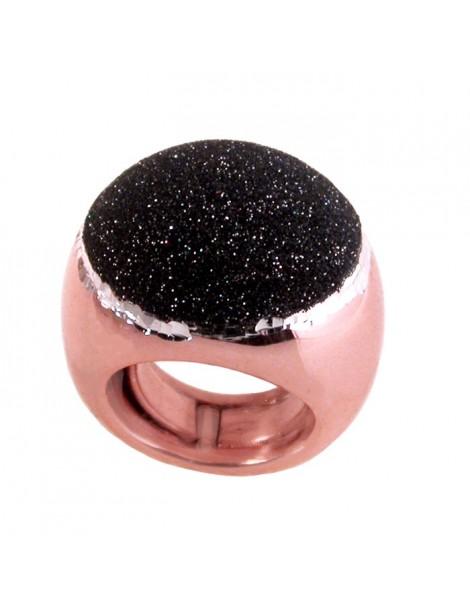 Smalto nero glitter sopra anello grande in argento rosa