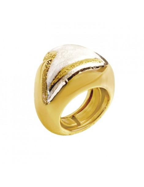 Anello argento modello grande dorato e satinato