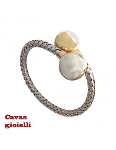 Bracciale d'argento a lamine intrecciate con finali a sfera dorate